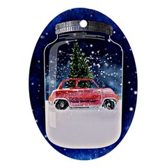 Winter Snow Ball Snow Cold Fun Ornament (oval) by Nexatart