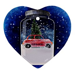 Winter Snow Ball Snow Cold Fun Ornament (heart) by Nexatart