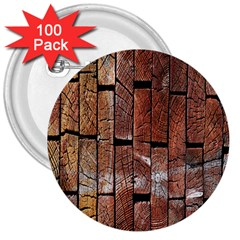 Wood Logs Wooden Background 3  Buttons (100 Pack)  by Nexatart