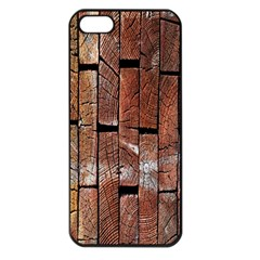 Wood Logs Wooden Background Apple Iphone 5 Seamless Case (black)