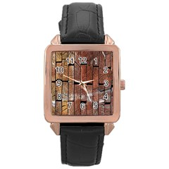 Wood Logs Wooden Background Rose Gold Leather Watch  by Nexatart