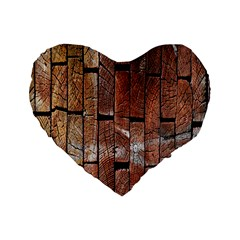 Wood Logs Wooden Background Standard 16  Premium Flano Heart Shape Cushions