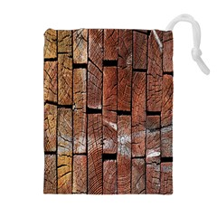 Wood Logs Wooden Background Drawstring Pouches (extra Large)