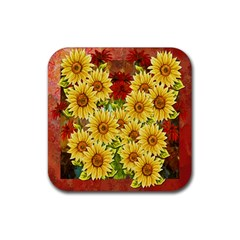 Sunflowers Flowers Abstract Rubber Coaster (square)  by Nexatart