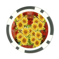 Sunflowers Flowers Abstract Poker Chip Card Guard by Nexatart