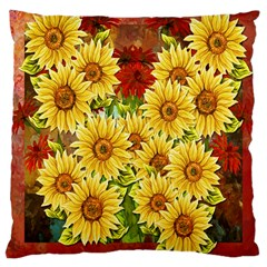 Sunflowers Flowers Abstract Large Cushion Case (two Sides)