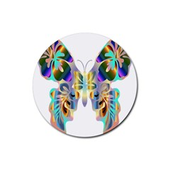 Abstract Animal Art Butterfly Rubber Round Coaster (4 Pack)  by Amaryn4rt