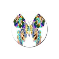 Abstract Animal Art Butterfly Magnet 3  (round) by Amaryn4rt