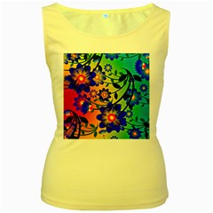 Abstract Background Backdrop Design Women s Yellow Tank Top by Amaryn4rt