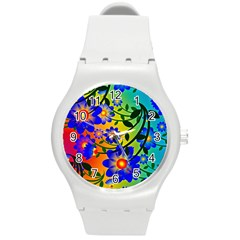 Abstract Background Backdrop Design Round Plastic Sport Watch (m) by Amaryn4rt
