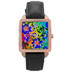 Abstract Background Backdrop Design Rose Gold Leather Watch  by Amaryn4rt