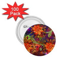 Abstract Flowers Floral Decorative 1 75  Buttons (100 Pack)