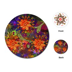 Abstract Flowers Floral Decorative Playing Cards (round)  by Amaryn4rt