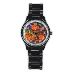 Abstract Flowers Floral Decorative Stainless Steel Round Watch by Amaryn4rt