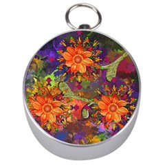 Abstract Flowers Floral Decorative Silver Compasses