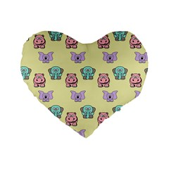 Animals Pastel Children Colorful Standard 16  Premium Flano Heart Shape Cushions by Amaryn4rt