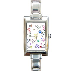 Animals Pets Dogs Paws Colorful Rectangle Italian Charm Watch
