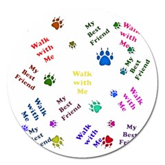 Animals Pets Dogs Paws Colorful Magnet 5  (round) by Amaryn4rt