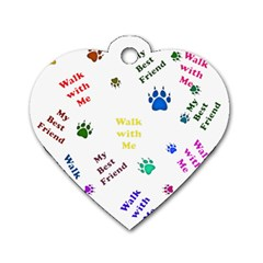 Animals Pets Dogs Paws Colorful Dog Tag Heart (two Sides)