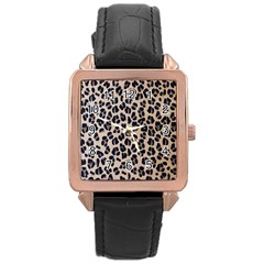 Background Pattern Leopard Rose Gold Leather Watch