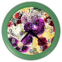 Background Flowers Color Wall Clocks by Amaryn4rt