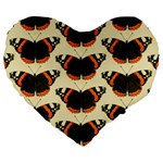 Butterfly Butterflies Insects Large 19  Premium Flano Heart Shape Cushions Front
