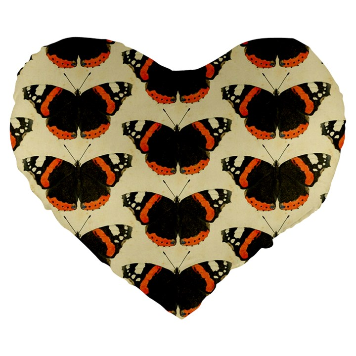 Butterfly Butterflies Insects Large 19  Premium Flano Heart Shape Cushions