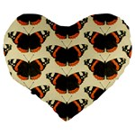 Butterfly Butterflies Insects Large 19  Premium Flano Heart Shape Cushions Back