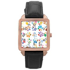 Colorful Prismatic Rainbow Animal Rose Gold Leather Watch