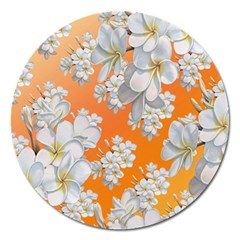 Flowers Background Backdrop Floral Magnet 5  (round) by Amaryn4rt