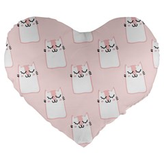 Pattern Cat Pink Cute Sweet Fur Large 19  Premium Heart Shape Cushions by Amaryn4rt