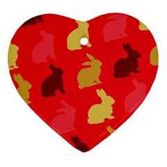 Hare Easter Pattern Animals Heart Ornament (two Sides) by Amaryn4rt