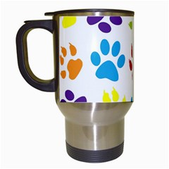 Paw Print Paw Prints Background Travel Mugs (white) by Amaryn4rt