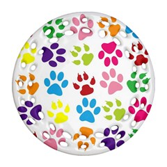 Paw Print Paw Prints Background Round Filigree Ornament (two Sides) by Amaryn4rt