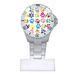 Paw Print Paw Prints Background Plastic Nurses Watch by Amaryn4rt