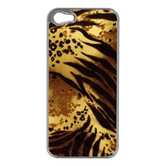 Pattern Tiger Stripes Print Animal Apple Iphone 5 Case (silver) by Amaryn4rt