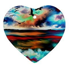 Ocean Waves Birds Colorful Sea Heart Ornament (two Sides)