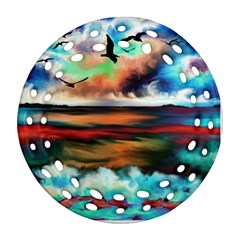 Ocean Waves Birds Colorful Sea Round Filigree Ornament (two Sides) by Amaryn4rt
