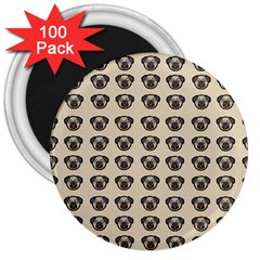 Puppy Dog Pug Pup Graphic 3  Magnets (100 Pack)