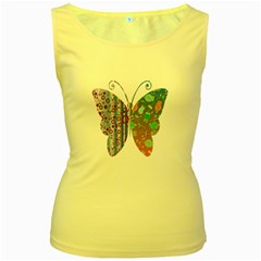 Vintage Style Floral Butterfly Women s Yellow Tank Top