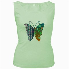 Vintage Style Floral Butterfly Women s Green Tank Top by Amaryn4rt