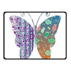 Vintage Style Floral Butterfly Fleece Blanket (small)
