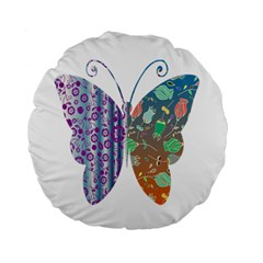 Vintage Style Floral Butterfly Standard 15  Premium Flano Round Cushions