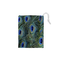 Peacock Feathers Blue Bird Nature Drawstring Pouches (xs)