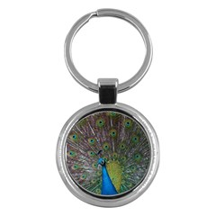 Peacock Feather Beat Rad Blue Key Chains (round)  by Amaryn4rt