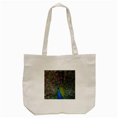 Peacock Feather Beat Rad Blue Tote Bag (cream)