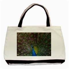 Peacock Feather Beat Rad Blue Basic Tote Bag (two Sides)