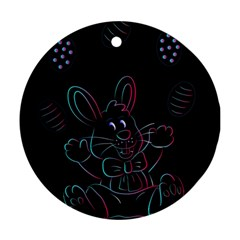 Easter Bunny Hare Rabbit Animal Round Ornament (two Sides) by Amaryn4rt