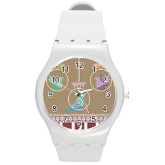 Isolated Wallpaper Bird Sweet Fowl Round Plastic Sport Watch (m) by Amaryn4rt