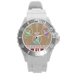 Isolated Wallpaper Bird Sweet Fowl Round Plastic Sport Watch (l) by Amaryn4rt